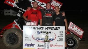 Jon Agan celebrates after winning Friday night's race at Bloomfield (Iowa) Speedway. (Bloomfield Speedway/Danny Howk photo)