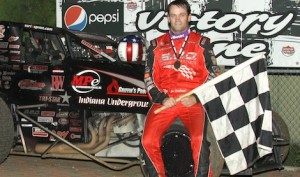 Jon Stanbrough in victory lane at Angell Park Speedway. (Bob Cruse photo)