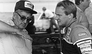 Former NASCAR Sprint Cup Series team owner Junie Donlavey (left), seen here talking with Ken Schrader, has died. He was 90 years old. (NASCAR Archives Photo)