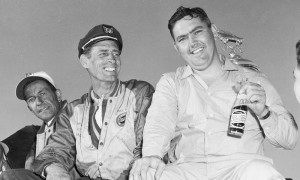 Ray Fox (left) poses with Junior Johnson after Johnson won the 1960 Daytona 500 in a car built by Fox. (NASCAR Archives Photo)