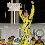 Kyle Busch celebrates after winning Thursday's NASCAR Camping World Truck Series race at Kentucky Speedway. NASCAR announced penalties against the team Tuesday. (NASCAR Photo)