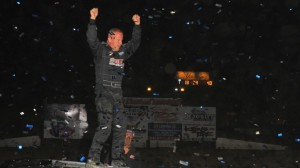 Darrell Lanigan overtook Chub Frank Tuesday night in the Diamond Shines 40 at Big Diamond Speedway in Forestville, Pa., and drove to his fifth World of Outlaws Late Model Series victory of the season. (Chris Budihas photo)