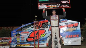 Matt Sheppard celebrates after winning at New Egypt on Tuesday night. (Harry Cella photo)