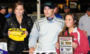 Michael Barnes in victory lane at Oswego (N.Y.) Speedway.