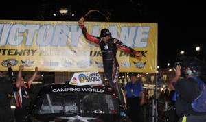 Darrell Wallace Jr. celebrates after winning Saturday's NASCAR Camping World Truck Series Drivin' For Linemen 200 at Gateway Motorsports Park in Madison, Ill. (Don Figler Photo)
