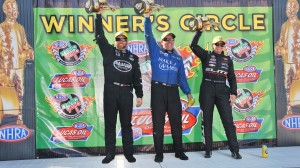 Shawn Langdon, Tommy Johnson Jr. and Erica Enders-Stevens won in Sunday's NHRA Ford Thunder Valley Nationals in Bristol, Tenn. (NHRA photo)