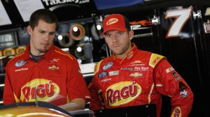 Regan Smith, right, looks on during practice at Daytona Int'l Speedway in Daytona Beach, Fla. in February. (HHP Photo/Tom Copeland)