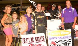 Robert Ballou in victory lane Saturday at Tri-State Speedway. (Doug Vandeventer photo)