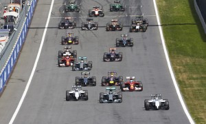 The Formula One field comes down the front stretch at the start Sunday's Austrian Grand Prix at the Red Bull Ring. (Steve Etherington Photo)