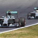 Nico Rosberg (6) leads Mercedes teammate Lewis Hamilton during the Austrian Grand Prix Sunday at the Red Bull Ring. (Steve Etherington Photo)