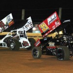 Tim Shaffer (45) leads Brian Montieth during Saturday's UNOH All Star Circuit of Champions event at Lincoln Speedway. (Julia Johnson Photo)