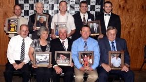 The newest members of the Sprint Car Hall of Fame pose with their awards. (Ken Simon photo)