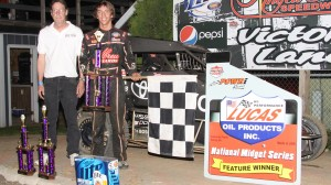 Tanner Thorson in victory lane at Angell Park Speedway in Sun Prairie, Wis. (Bob Cruse photo)