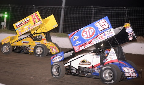 Joey Saldana (71m) held off Donny Schatz to win Friday's WoO sprint car race at I-80 Speedway. (Ken Simon photo)