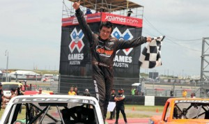 Apdaly Lopez celebrates after winning the X Games Austin  Formula Off-Road event at Circuit of the Americas Sunday. (Formula Off-Road Photo)