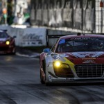 The Flying Lizard Motorsports Audi R8 LMS on track during Saturday's TUDOR United SportsCar Championship race at Belle Isle Park in Detroit, Mich. (Michael Levitt/LAT Photo)