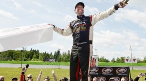 Jason Hathaway won the inaugural Budweiser 300 on Sunday in NASCAR Canadian Tire Series presented by Mobil 1 action at Autodrome Chaudière. (Matthew Murnaghan/NASCAR photo)