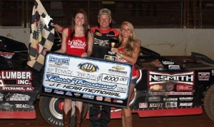 Ronnie Johnson in victory lane Saturday night at 411 Motor Speedway.