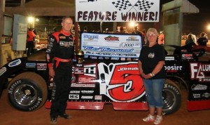 Ronnie Johnson in victory lane Saturday night at Tri-County Race Track in North Carolina.
