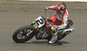 Kenny Coolbeth on his way to victory in the AMA Pro Flat Track event at Knoxville (Iowa) Raceway. (AMA Pro Photo)