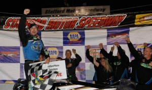 Doug Coby celebrates after winning Friday's NASCAR Whelen Modified Tour event at Stafford Motor Speedway. (NASCAR Photo)