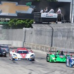 The TUDOR United SportsCar Championship field takes the green flag at the start of Saturday's race at Belle Isle Park in Detroit, Mich. (Frank Smith Photo)