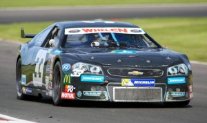 Wilfried Boucenna drove to victory in the second NASCAR Whelen Euro Series event Saturday at Brands Hatch Circuit in England. (Stephane Azemard/NASCAR Photo)