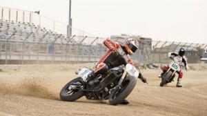 Brad Baker tested out the new Harley-Davidson 750 at a dirt flat-track race before X Games Austin. (Harley-Davidson photo)