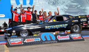 Jason Rupert collected his fourth IHRA Ironman by winning the Nitro Funny Car class Sunday at Grand Bend Motorplex. (IHRA Photo)