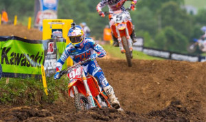 Ken Roczen earned his third overall victory in the Lucas Oil Pro Motocross 450 class this year on Saturday at Muddy Creek Raceway. (Simon Cudby Photo)