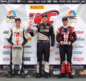 Mike Skeen (center) earned his first Pirelli World Challenge GT class victory of the year Friday at Road America. (PWC Photo)