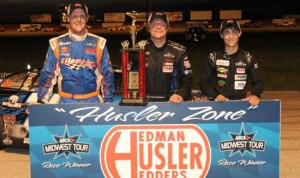 Chris Weinkauf (center) scored his first ARCA Midwest Tour victory Friday at Grundy County Speedway in Morris, Ill., besting Ty Majeski (right) and Jonathan Eilen (left). (Doug Hornickel Photo)