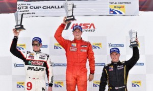 Scott Hargrove (center) won round four of the Ultra 94 Porsche GT3 Cup Challenge Canada Sunday afternoon while Chris Green (left) won Sunday's morning race. Spencer Pigot (right) finished third in both races. (IMSA Photo)