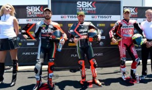 Tom Sykes (center) has earned the Tissot-Superpole for Sunday's World Superbike events at Mazda Raceway Laguna Seca. (World Superbike Photo)