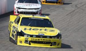 Brad Keselowski (22) dominated Saturday's NASCAR Nationwide Series race at New Hampshire Motor Speedway. (HHP/Harold Hinson Photo)