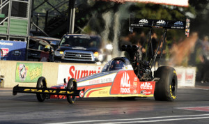 Doug Kalitta topped the NHRA Top Fuel charts during qualifying Friday at Summit Racing Equipment Motorsports Park in Norwalk, Ohio. (NHRA Photo)