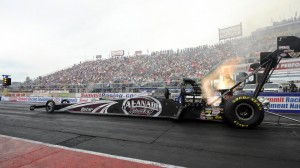 Shawn Langdon captured the top spot in Top Fuel qualifying on Saturday in Norwalk, Ohio. (NHRA photo)