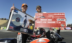 Andrew Hines pocketed $25,000 after winning the  inaugural MiraMonte Records Pro Bike Battle Saturday at Sonoma Raceway. (NHRA Photo)