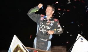 Daryn Pittman celebrates winning Thursday's World of Outlaws STP Sprint Car Series race at Lincoln Speedway. (Doug Johnson photo)