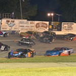 Several late models were involved in a first-lap crash Sunday night at Slinger (Wis.) Super Speedway. (Doug Hornickel Photo)