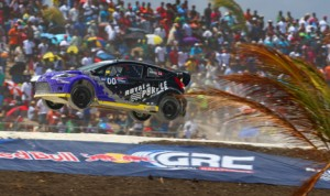 Steve Arpin flies through the air during a Red Bull Global Rallycross event earlier this year. (Alison Padron Photo)