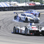An Audi racer goes for a spin in the middle of a turn during Sunday's TUDOR United SportsCar Championship race at Watkins Glen Int'l. (Dennis Bicksler Photo)