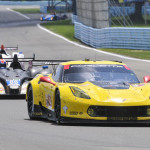One of Corvette Racing's Chevrolet Corvette C7.R entries leads a group of cars during Sunday's TUDOR United SportsCar Championship race at Watkins Glen Int'l. (Dennis Bicksler Photo)