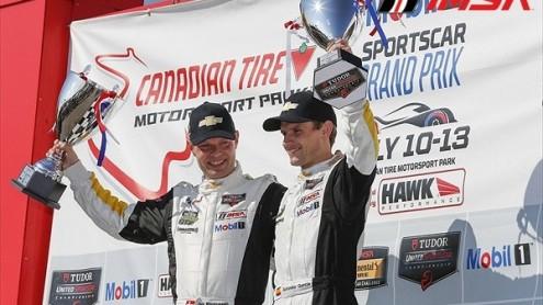 Jan Magnussen and Antonio Garcia celebrate their GTLM victory. (IMSA photo)