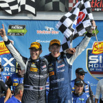 Richard Westbrook and Michael Valiante celebrate after winning Sunday's TUDOR United SportsCar Championship race at Watkins Glen Int'l. (Dennis Bicksler Photo)