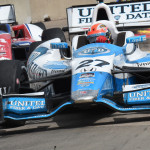 James Hinchcliffe (27) leads a group of cars during Sunday's Verizon IndyCar Series event in Houston, Texas. (Al Steinberg Photo)