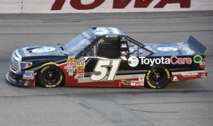 Erik Jones won Friday's NASCAR Camping World Truck Series race at Iowa Speedway, but Kyle Busch Motorsports has once again been penalized for a problem discovered by officials after the race. (Al Steinberg Photo)