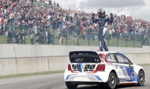 Topi Heikkinen celebrates after his victory Sunday during World RX of Belgium, round six of the FIA World Rallycross Championship.