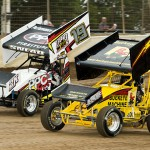 Kody Swanson (33) and Jimmy Snead battle at Limaland Motorsports Park. (Mike Campbell Photo)