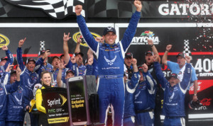 Aric Almirola celebrates his victory in Sunday's Coke Zero 400 at Daytona Int'l Speedway. (HHP/Harold Hinson Photo)
